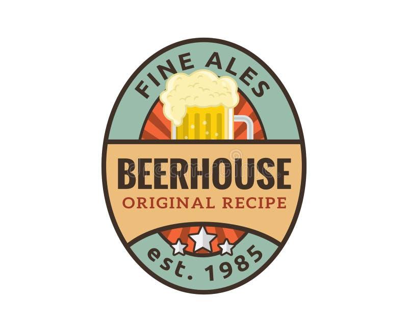 Modernt öl- och bryggeriemblem Logo Design royaltyfri illustrationer
