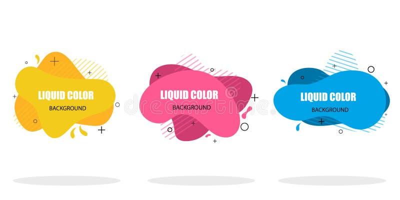 Modernt abstrakt baner av plana vätskeformer Abstrakta geometriska vätskeformer i plan stil på isolerad bakgrund Moderiktig vekto royaltyfri illustrationer
