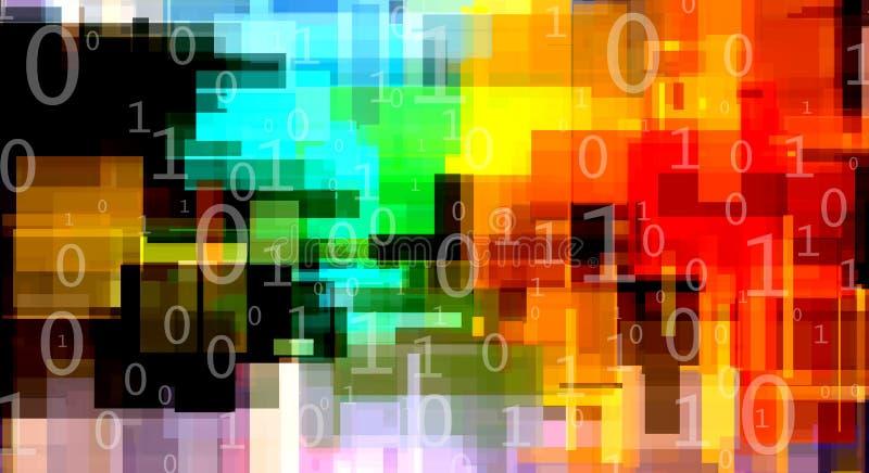 Modernt abstrakt begrepp med binär kod royaltyfri illustrationer