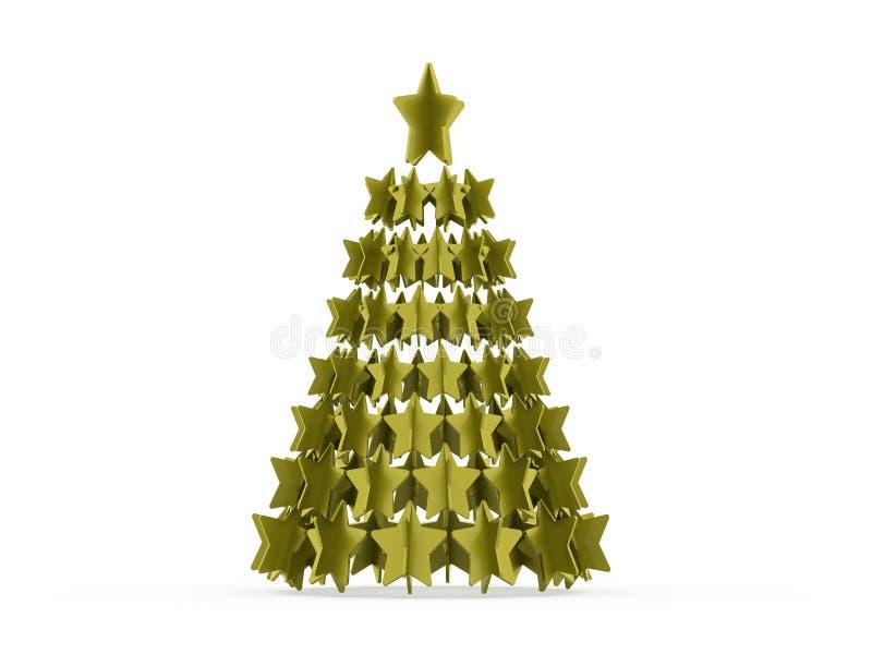 Modernt abstrakt julträd med framförda stjärnor royaltyfri illustrationer
