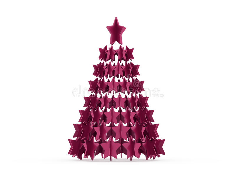 Modernt abstrakt julträd med framförda stjärnor stock illustrationer