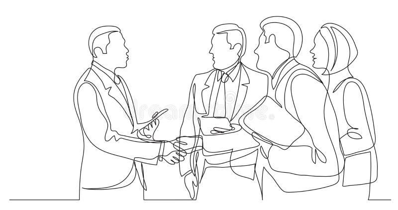 Modernt affärsfolk som skakar händer efter lyckad konversation - en linje teckning royaltyfri illustrationer