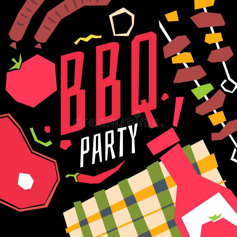 Modernt affischBBQ-parti med en rutig bordduk, grillfest, grönsaker royaltyfri illustrationer