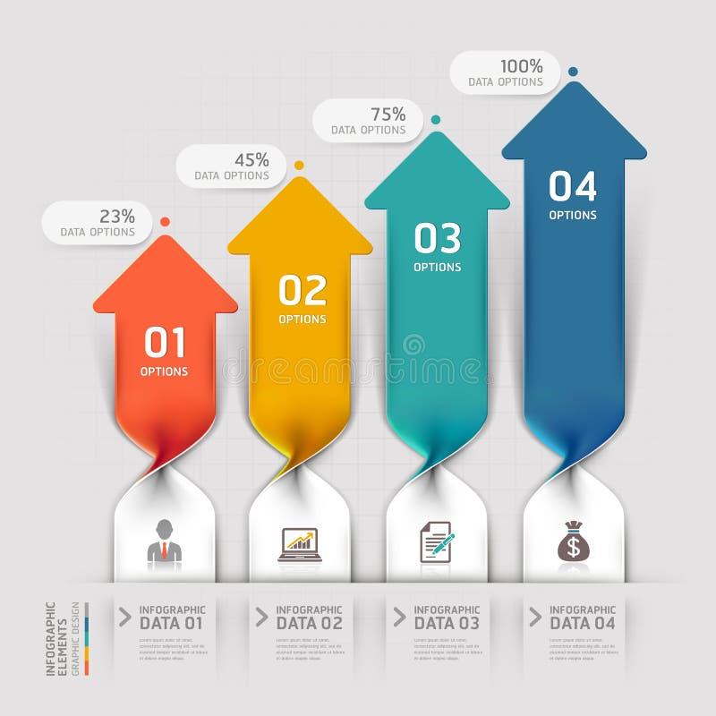 Modernt alternativ för infographics för pilaffärsspiral. stock illustrationer
