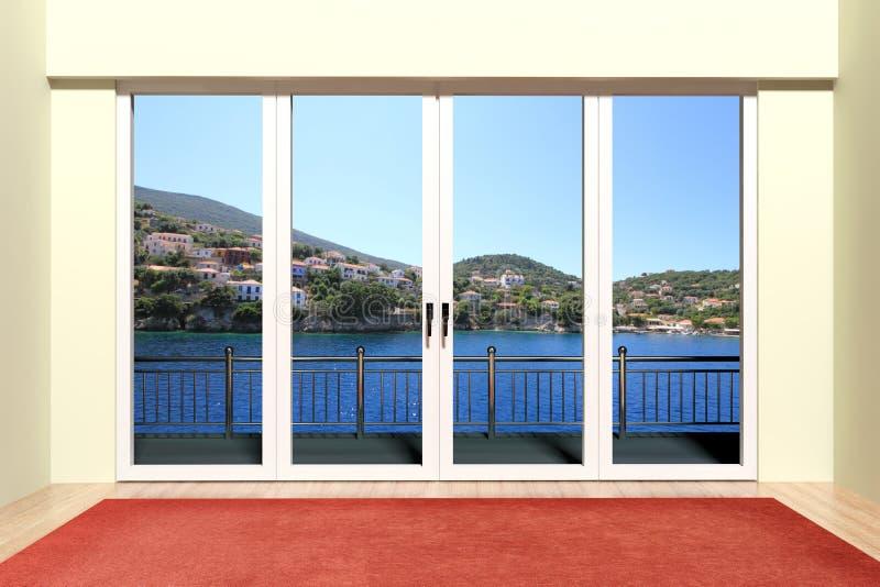 Modernt aluminum fönster royaltyfri illustrationer