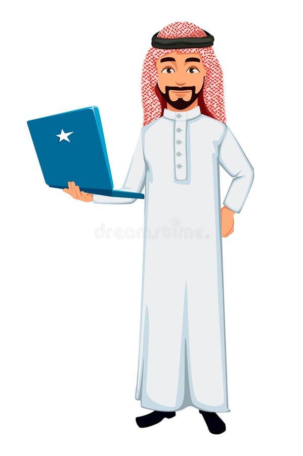 Modernt arabiskt tecken för tecknad film för affärsman royaltyfri illustrationer