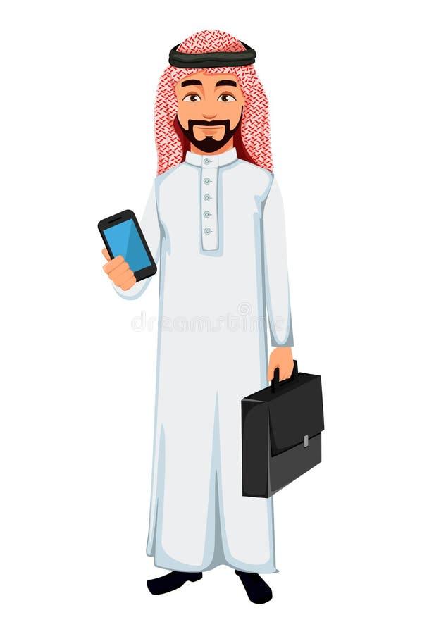 Modernt arabiskt tecken f?r tecknad film f?r aff?rsman vektor illustrationer