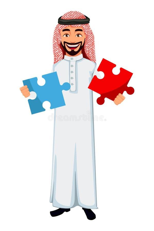 Modernt arabiskt tecken f?r tecknad film f?r aff?rsman stock illustrationer