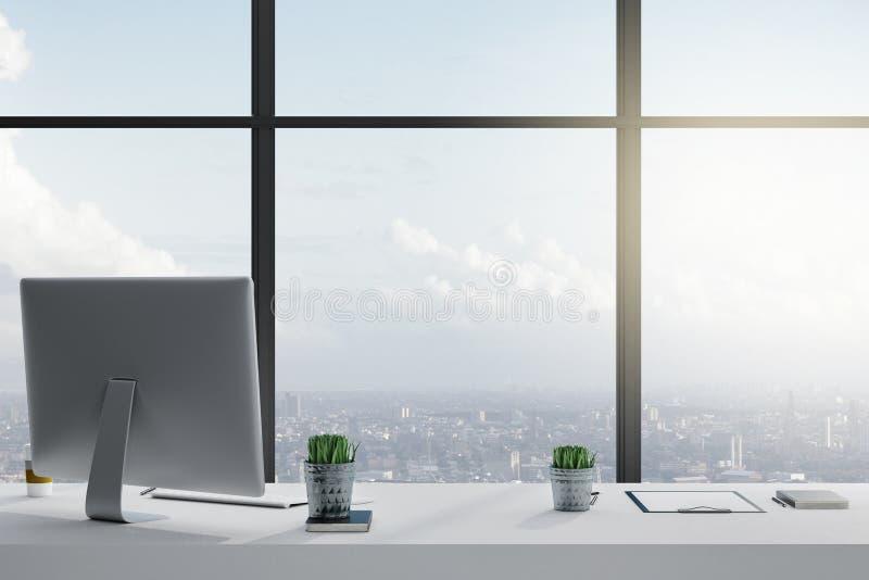 Modernt arbetsplatsskrivbord royaltyfri foto