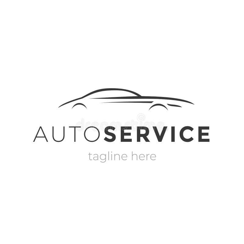 Modernt automatiskserviceemblem med bilkonturn Beståndsdel för logodesignvektor Symbol för företag för maskingarageaffär vektor illustrationer