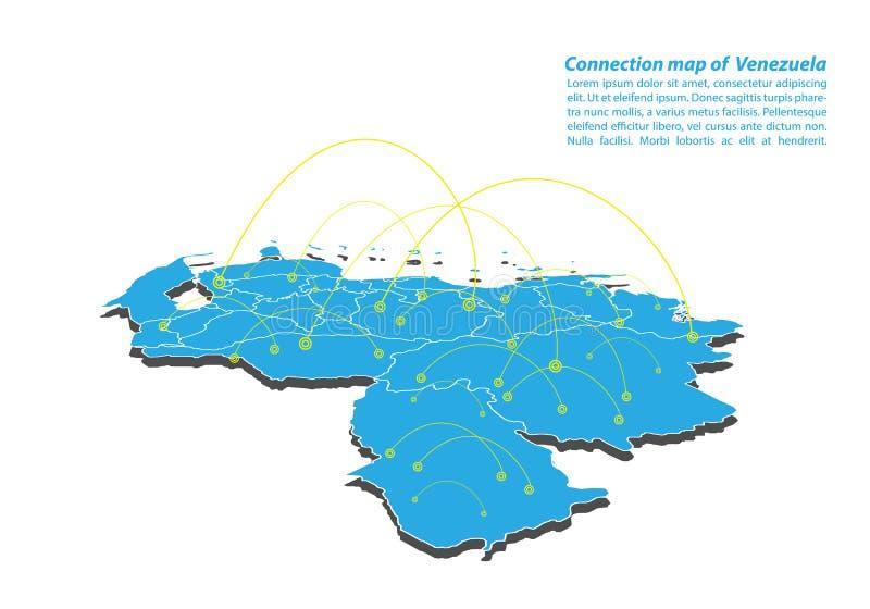 Modernt av designen för nätverk för Venezuela översiktsanslutningar, bästa internetbegrepp av den Venezuela översiktsaffären från vektor illustrationer
