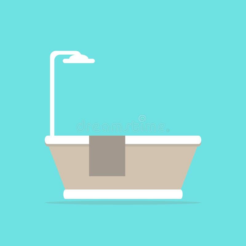 _ Modernt badkar med duschen och handduken royaltyfri illustrationer