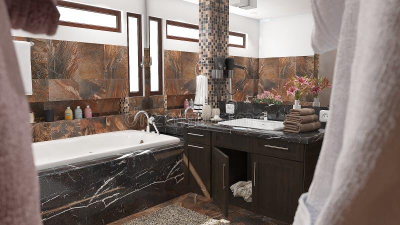Modernt badrum med bruna tegelplattor och den stora illustrationen för spegel 3D arkivfoton