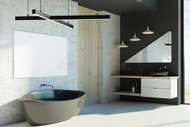 Modernt badrum med den tomma affischen stock illustrationer