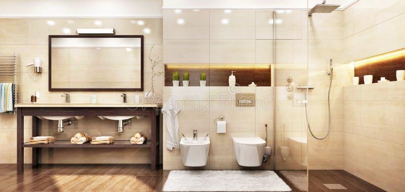 Modernt badrum med duschen i hotell arkivfoton