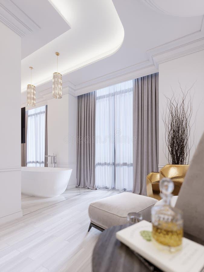 Modernt badrum med ett fönster, hängande ljuskrona, gardiner, badrum vektor illustrationer