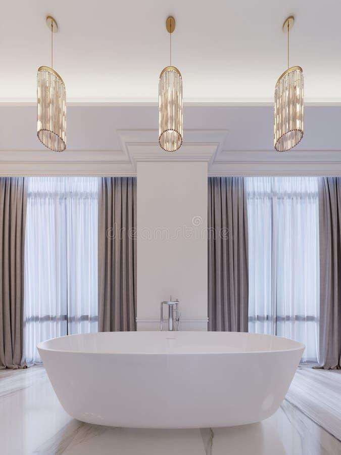 Modernt badrum med ett fönster, hängande ljuskrona, gardiner, badrum royaltyfri illustrationer