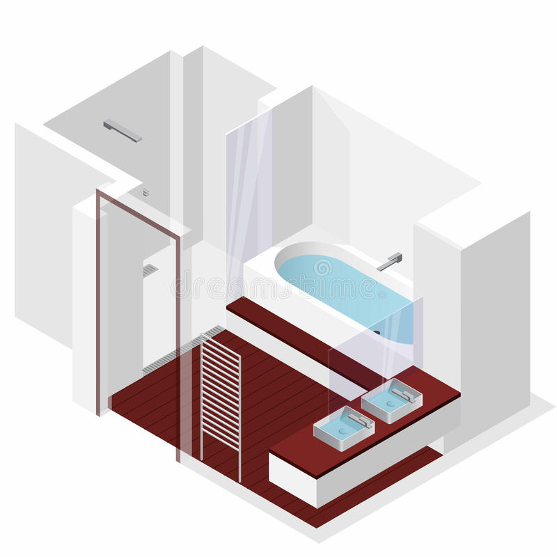 Modernt badrum med trägolvet i isometriskt perspektiv Duschbilaga vektor illustrationer