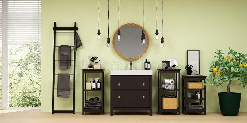 Modernt badrum som är inre med gröna väggar och trädetaljer royaltyfria foton