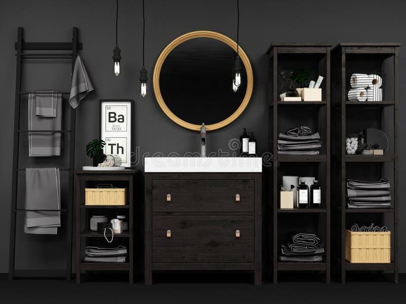 Modernt badrum som är inre med svarta väggar och trädetaljer royaltyfria bilder
