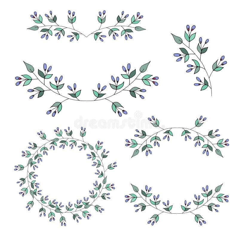 Modernt baner med uppsättningen av blom- ramar på vit bakgrund för dekorativ design royaltyfri illustrationer