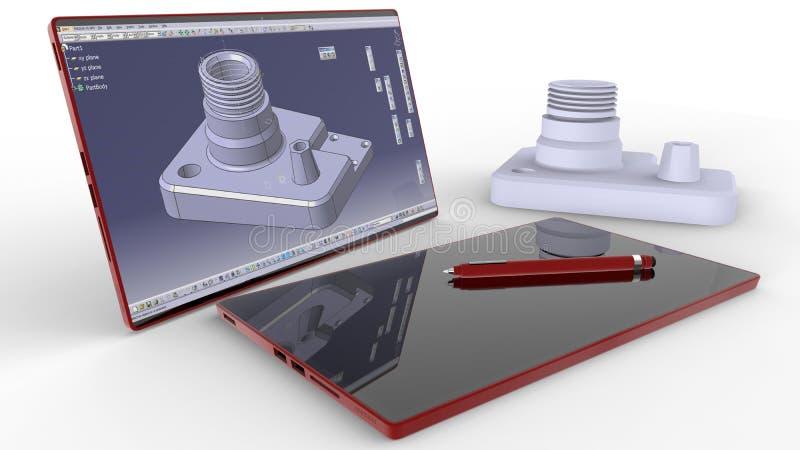 Modernt begrepp för datastödd design royaltyfri illustrationer