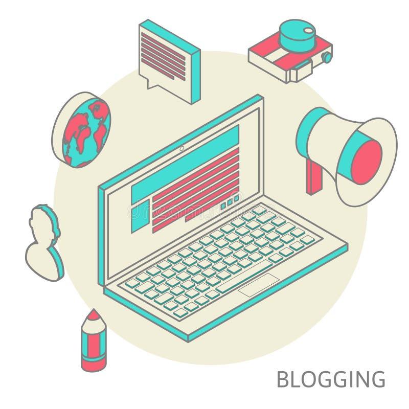 Modernt begrepp för isometrisk design av blogging stock illustrationer