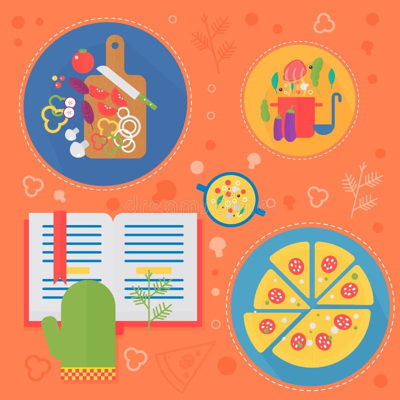 Modernt begrepp för matlagningförälskelselägenhet Kökhjälpmedel och matlagningmatinfographicsen planlägger, rengöringsdukbestånds royaltyfri illustrationer