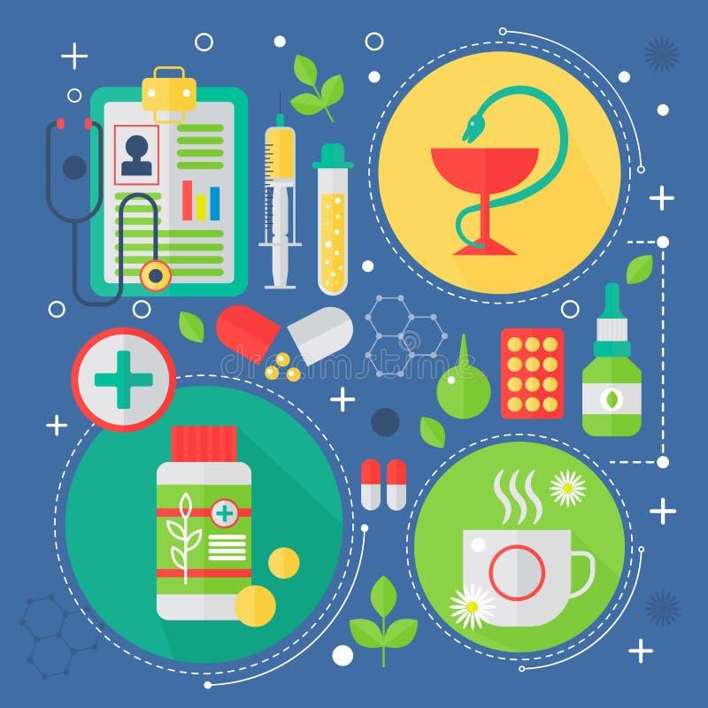 Modernt begrepp för medicin- och sjukvårdservicelägenhet Medicinsk design för infographics för apotekteknologidiagnostik, rengöri royaltyfri illustrationer