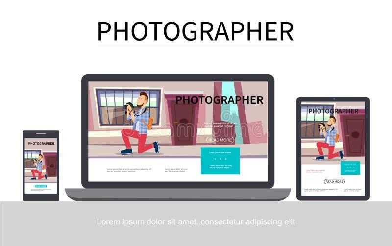 Modernt begrepp för plant fotografi royaltyfri illustrationer