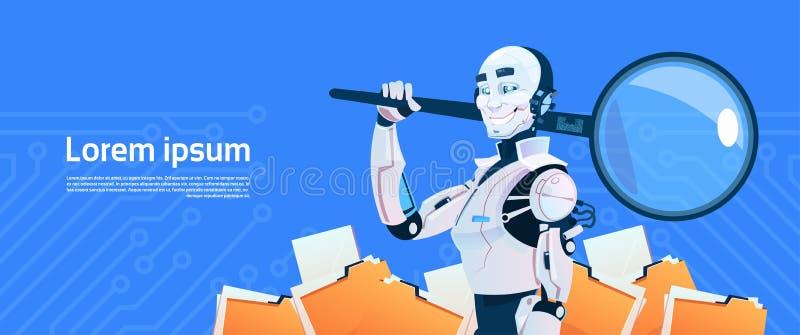 Modernt begrepp för sökande för data för robothållförstoringsglas, futuristisk mekanismteknologi för konstgjord intelligens royaltyfri illustrationer