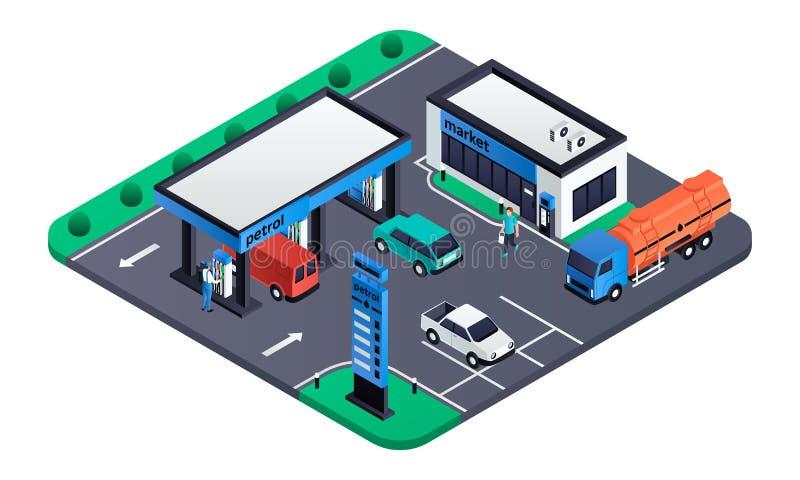 Modernt bensinstationbegreppsbaner, isometrisk stil vektor illustrationer