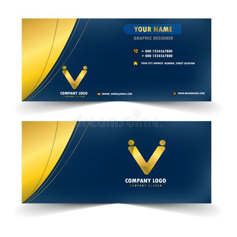 Modernt blått och guld- namnkort stock illustrationer