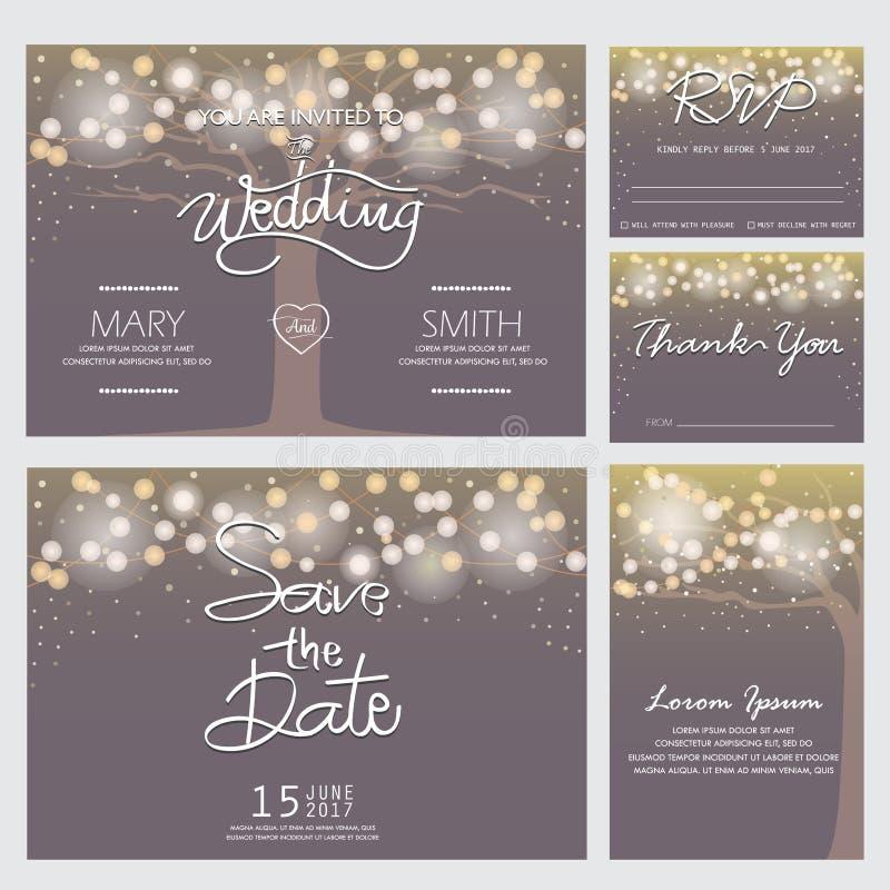 Modernt bröllopinbjudankort vektor illustrationer