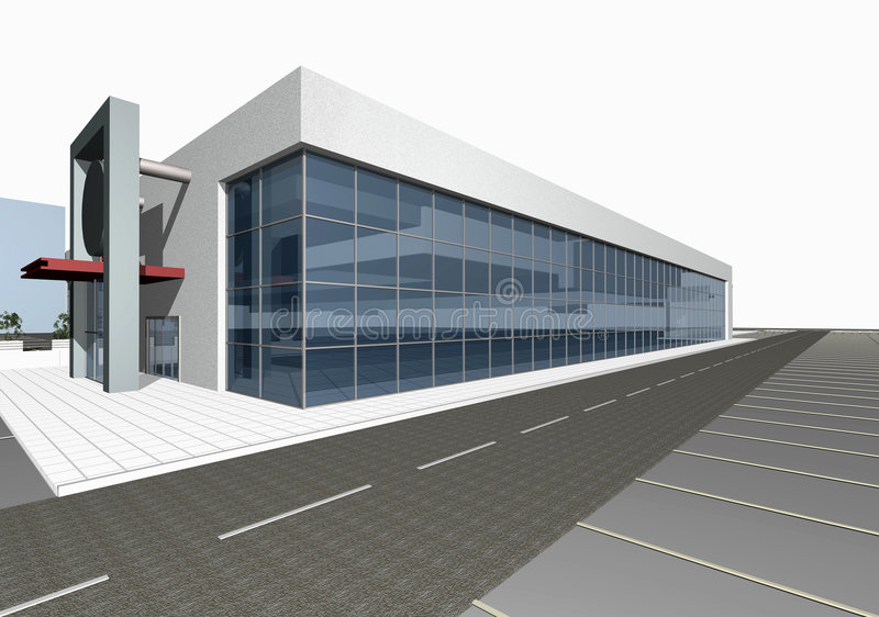 modernt byggande 3d framför stock illustrationer