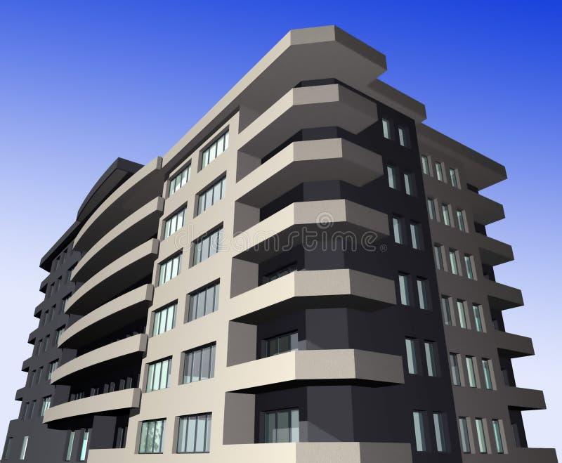 modernt byggande 3d framför bostads royaltyfri illustrationer