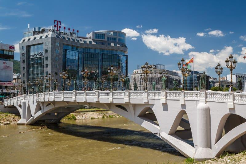 Modernt centrum i Skopje arkivfoton