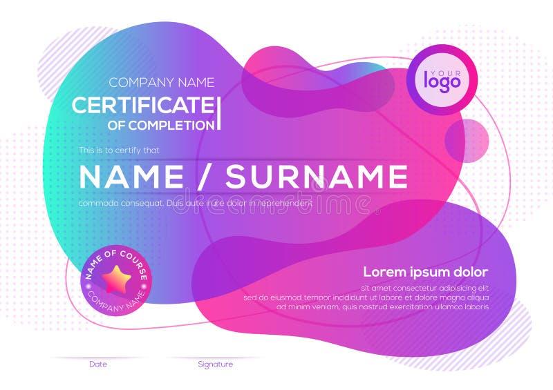 Modernt certifikat av avslutningsmallen med vätskediagrammet för vibrerande djärv färgvätska royaltyfri illustrationer