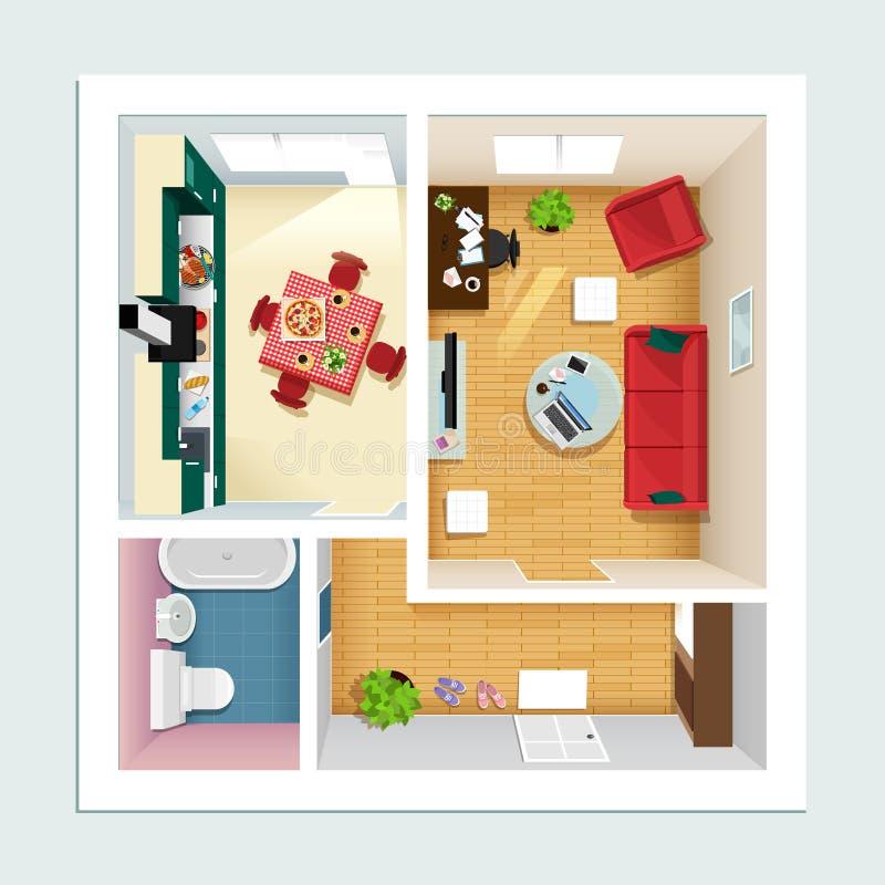 Modernt detaljerat golvplan för lägenhet med kök, vardagsrum, badrummet och korridoren Bästa sikt av lägenhetinre royaltyfri illustrationer