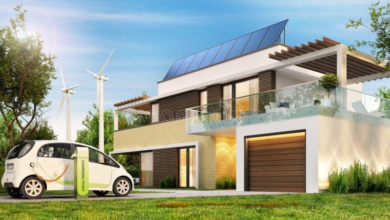 Modernt ecohus med solpaneler och vindturbiner och en elbil royaltyfri foto