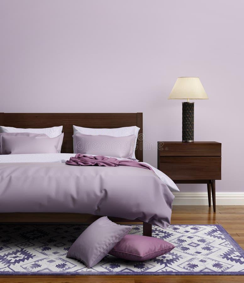 Modernt elegant ljus - purpurfärgat lyxigt sovrum royaltyfri bild