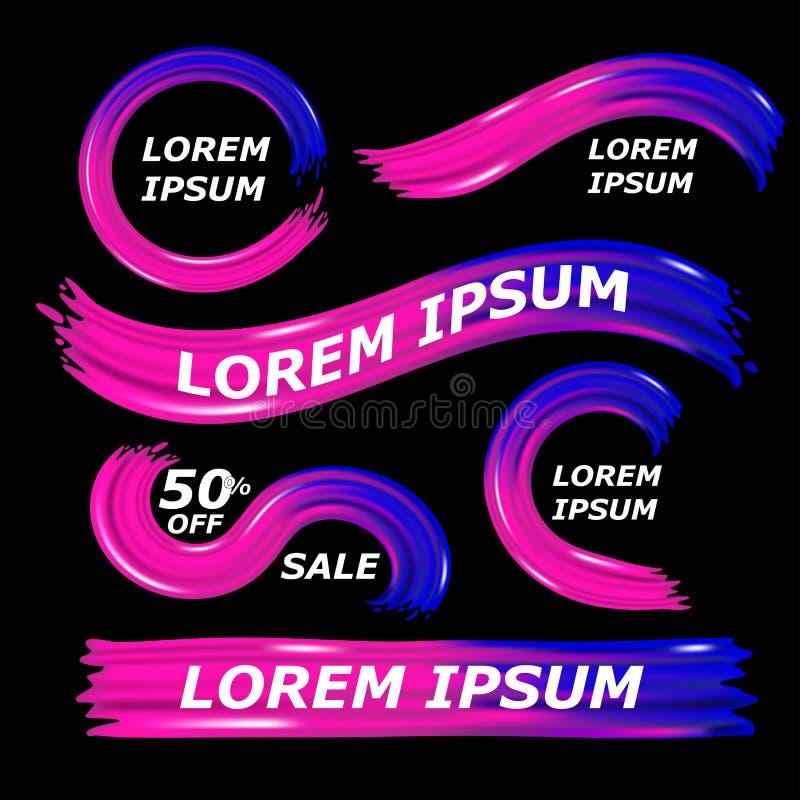 Modernt färgrikt flöde på svart bakgrund Mörk vågvätskeform som är rosa och - blå färg Fastställda dynamiska beståndsdelar planlä royaltyfri illustrationer