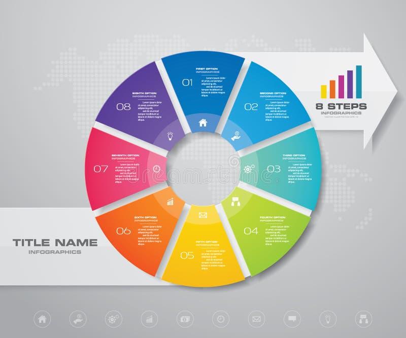 Modernt för pajdiagram för 8 moment diagram för cirkel med beståndsdelen för pilinfographicsdesign stock illustrationer