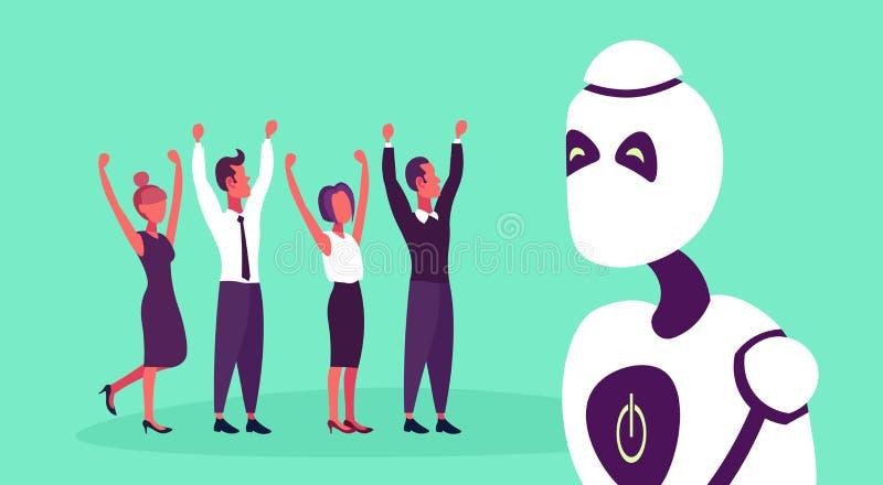 Modernt folk för begrepp för robotståendeteamwork som lyfter händer upp längd för konstgjord intelligens för tecknad filmtecken f stock illustrationer