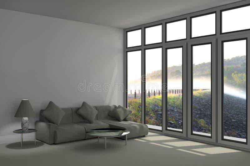 Modernt fridsamt sovrum i tolkningbilden för skog 3D arkivbild