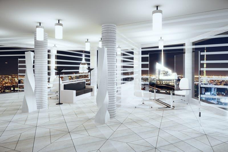 Modernt futurismstilkontor med fönster i golvet och natten cit royaltyfri bild