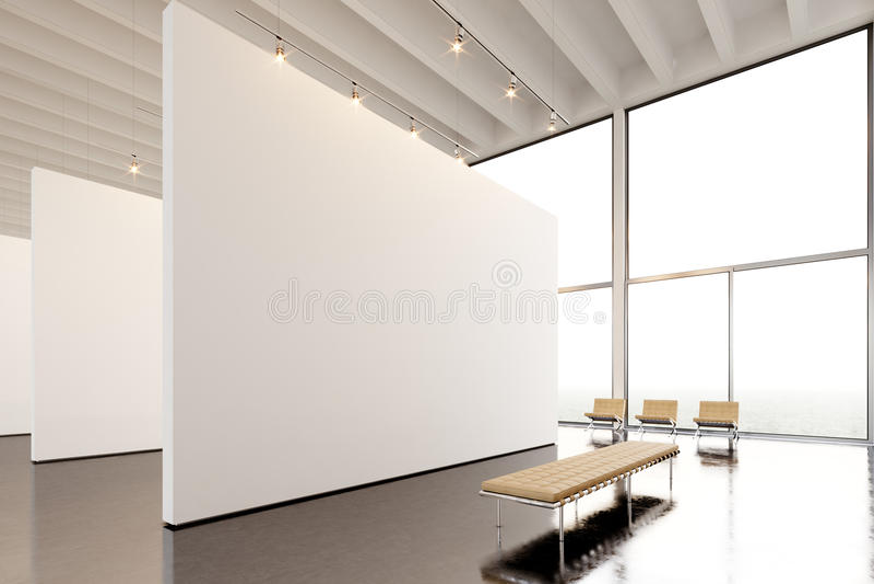 Modernt galleri för fotoutläggning, öppet utrymme Hängande samtida konstmuseum för stor vit tom kanfas Inre vindstil royaltyfria bilder