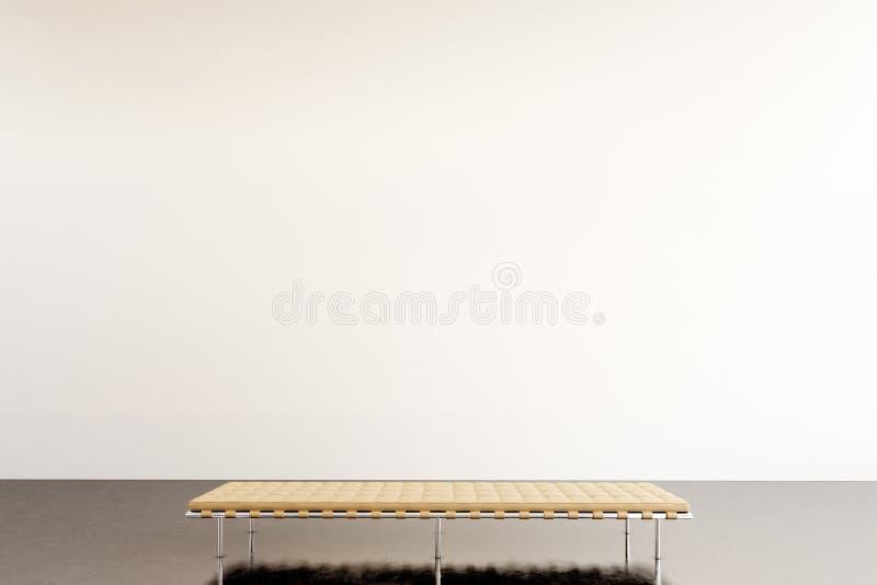 Modernt galleri för fotoutställning Tom vit vägg i samtida konstmuseum Inre vindstil med det konkreta golvet royaltyfri fotografi