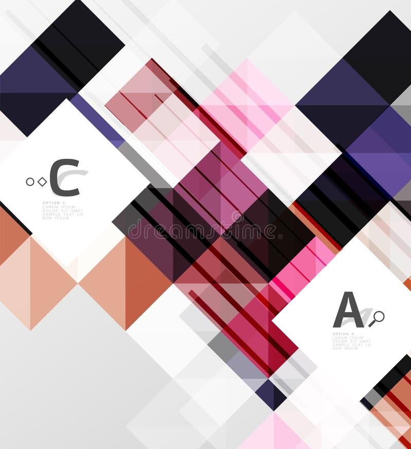 Modernt geometriskt fyrkantigt baner, minimalistic abstrakt bakgrund vektor illustrationer