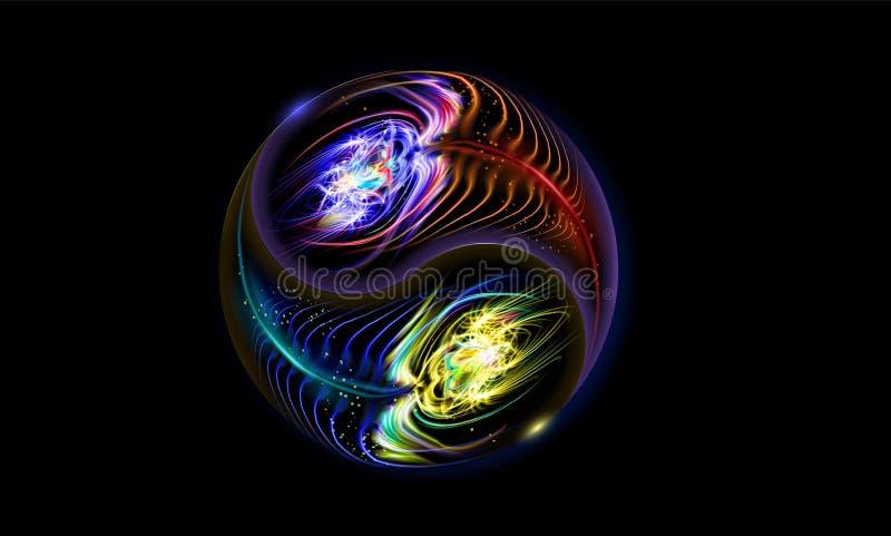 Modernt glöda blå röd kosmisk Yin och Yang mandala Dekorativ andlig avkoppling Belysningprydnader planlägger vektor stock illustrationer